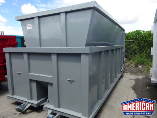 20 Yard Slant Wall Style Cable Roll-Off Dumpsters - American Made Dumpsters